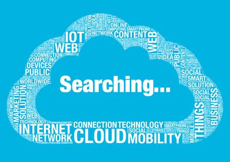 wordcloud: Searching cloud computing, vector wordcloud concept illustration Illustration