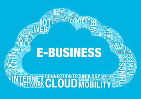 wordcloud: E-Business cloud computing, vector wordcloud concept illustration Illustration