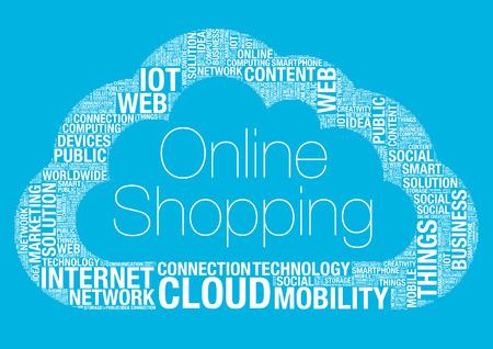 wordcloud: Online shopping cloud computing, vector wordcloud concept illustration