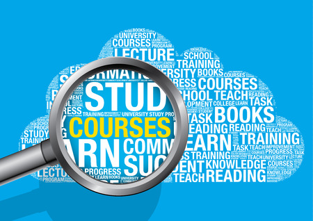 Courses in educational word cloud, vector concept