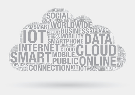 wordcloud: Cloud computing technology, vector wordcloud concept illustration Illustration