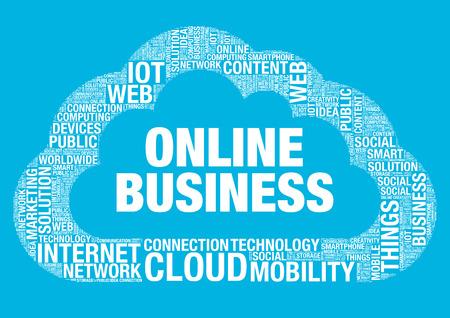 wordcloud: Business online cloud computing, vector wordcloud concept illustration Illustration
