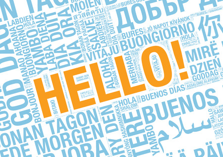 talking dictionary: Word Hello in many languages, vector word cloud concept illustration