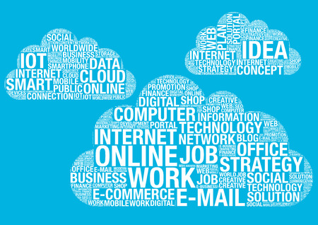 wordcloud: Cloud computing technology, vector wordcloud concept illustration Stock Photo