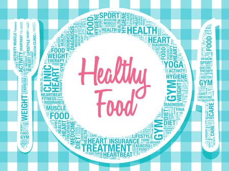 strenght: Healthy food on plate nutrition concept, vector illustration Illustration