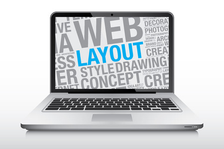 laptop screen: Layout concept on laptop screen, vector illustration
