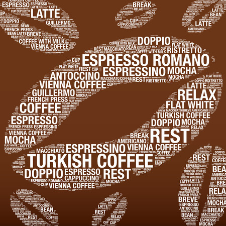 brean: Coffee beans with word cloud, vector illustration