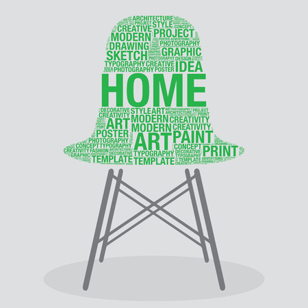 stylish chair: Home on stylish chair interior design concept, vector illustration Illustration