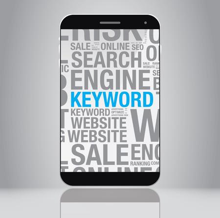 keyword: Keyword concept on smartphone screen, vector illustration