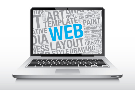 laptop screen: Web concept on laptop screen, vector illustration