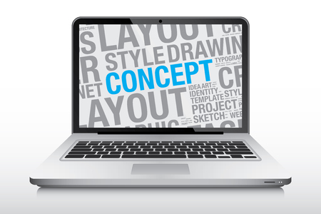 laptop screen: Concept design on laptop screen, vector illustration
