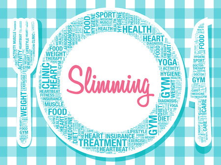strenght: Slimming on plate healthy food concept, vector illustration Illustration