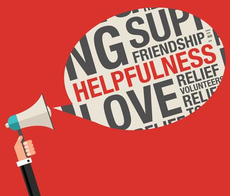 helpfulness: Helpfulness in charity word cloud help concept, vector illustration Illustration