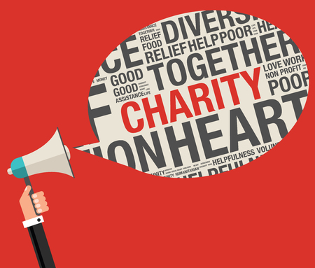 Charity in word cloud help concept, vector illustration