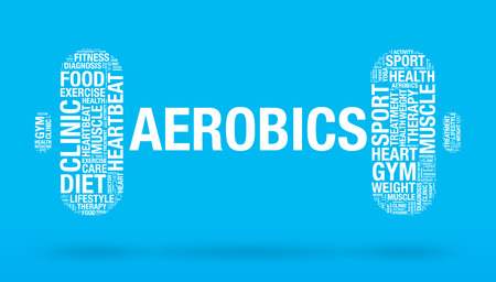strenght: Aerobics word in dumbbell fitness concept, vector illustration