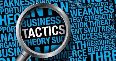 Taktik-Wort-Wolke Business-Konzept, Vektor-Präsentationsvorlage