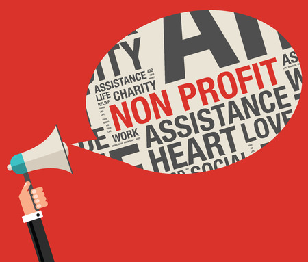 non profit: Non profit in charity word cloud help concept, vector illustration Illustration