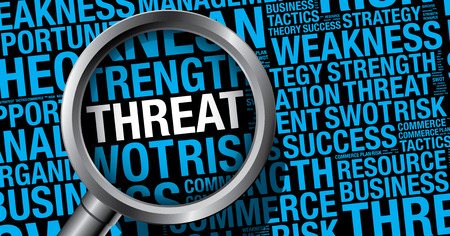 threat: Threat word cloud business concept, vector presentation template