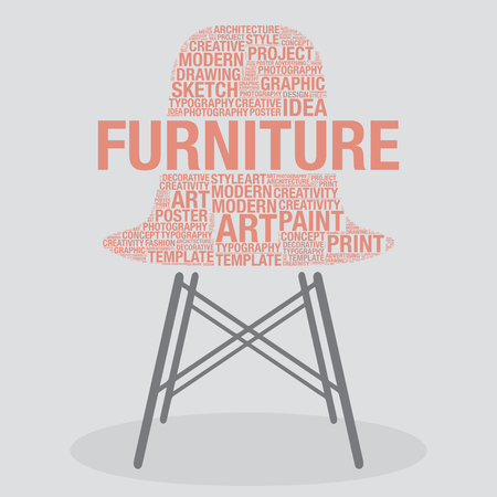 stylish chair: Furniture on stylish chair interior design concept, vector illustration Illustration