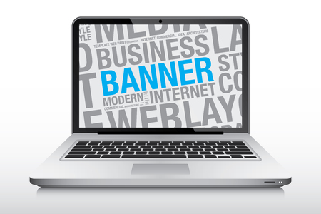 laptop screen: Banner concept on laptop screen, vector illustration Illustration