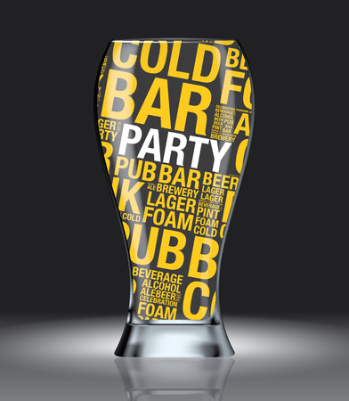 Glass of beer with Party word cloud, design vector Illustration
