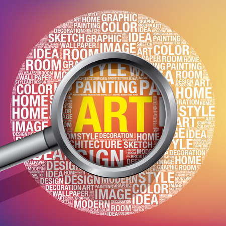 Art in design word cloud, vector illustration concept