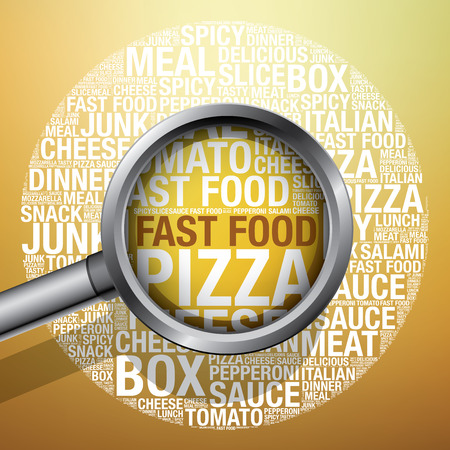 Pizza word cloud fast food concept, vector illustration