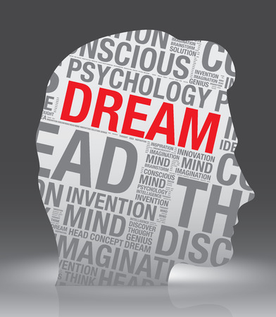 Dream head of man with word cloud, vector concept Illustration