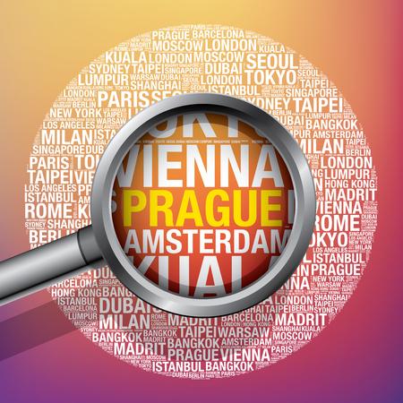 Prague in conceptual travel word cloud, vector illustration concept