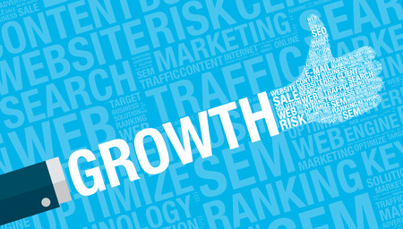 Growth concept with thumbs up, vector illustration Illustration