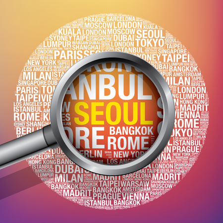 Seoul  in conceptual travel word cloud, vector illustration concept Illustration