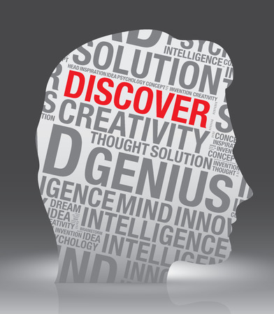 discover: Discover head of man with word cloud, vector concept