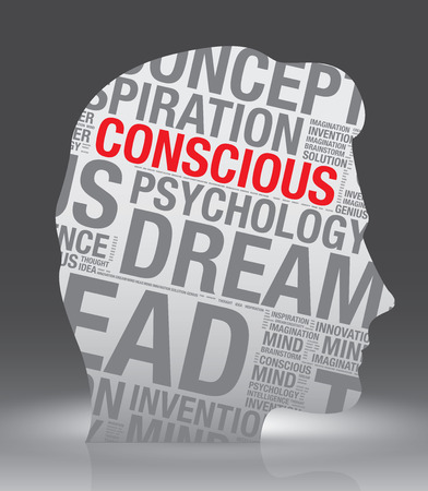 conscious: Conscious head of man with word cloud, vector concept Illustration