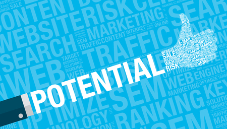 potential: Potential concept with thumbs up, vector illustration