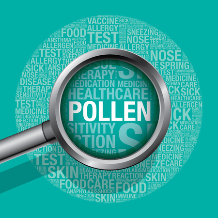 symptom: Pollen concept with magnifying glass, vector illustration