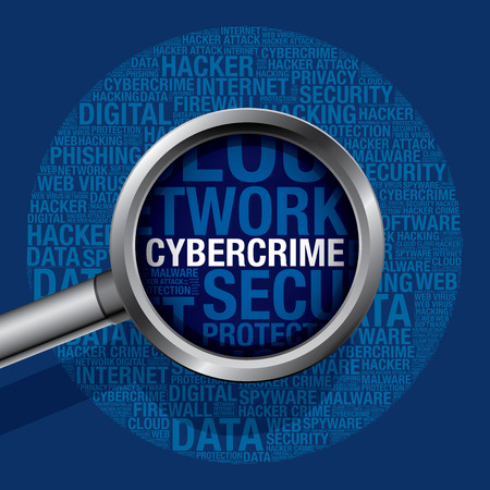 spyware: Cybercrime in cyber crime word cloud, vector concept Illustration