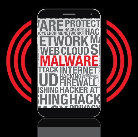 malware: Malware word cloud on mobile phone screen, vector concept
