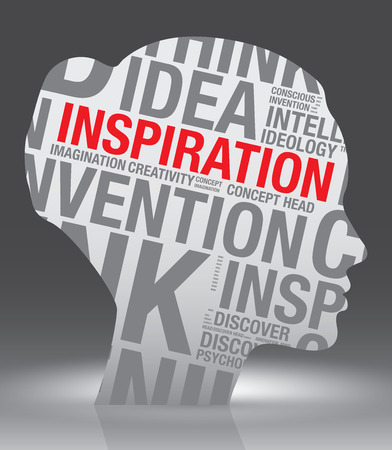 Inspiration head of woman with word cloud, vector concept