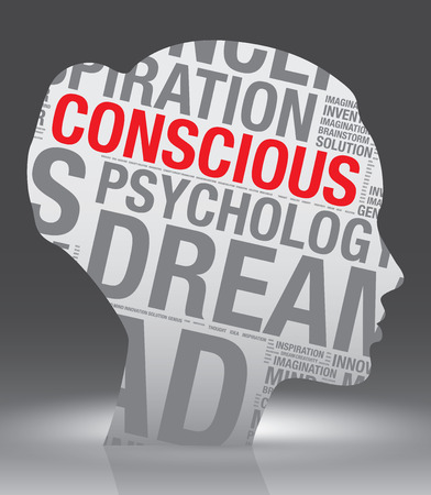 conscious: Conscious head of woman with word cloud, vector concept