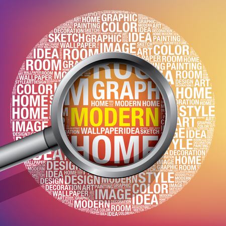 Modern in design word cloud, vector illustration concept