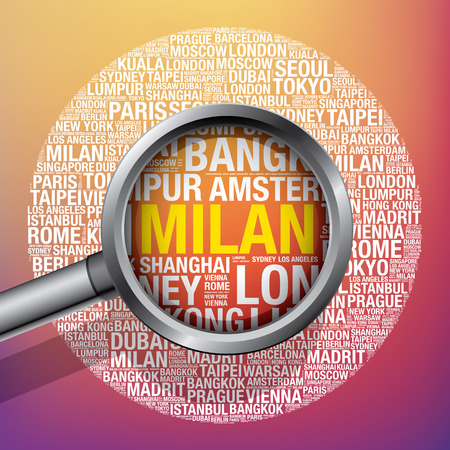 Milan in conceptual travel word cloud, vector illustration concept Stock Photo