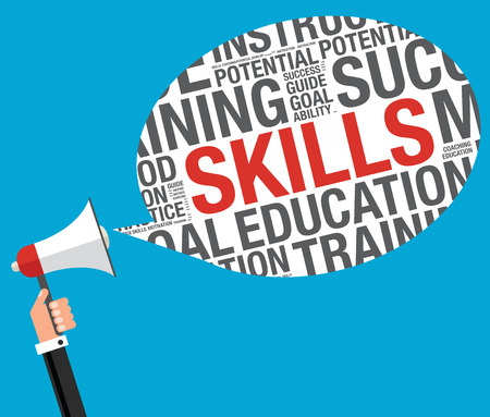 Business skills concept with megaphone, vector illustration Illustration