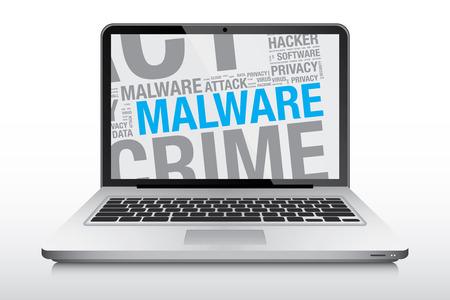malware: Malware word cloud on laptop screen, vector concept