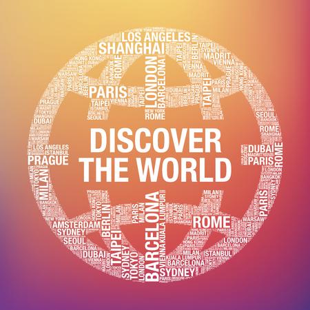Discover the World quote in globe, tourist vector concept Illustration