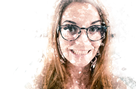 Funny portrait of nerd woman with big eyeglasses at home