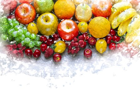gripe: Fresh mixed fruits on wooden board, concept of healthy eating and diet Stock Photo