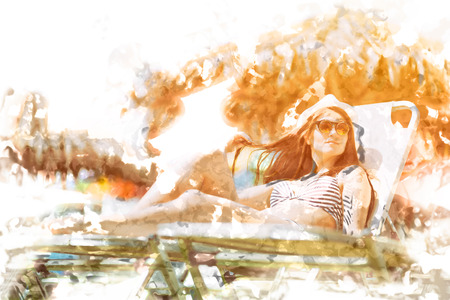 tropics: Woman sunbathing on a hot summer day in the tropics Stock Photo