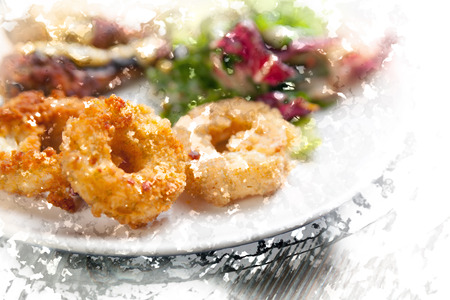 onion rings: Homemade crunchy fried Onion Rings on plate with salad and roast chicken Stock Photo