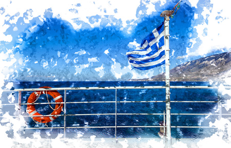 Cruise ship with Greek flag view on sea and islands Greece Stock Photo