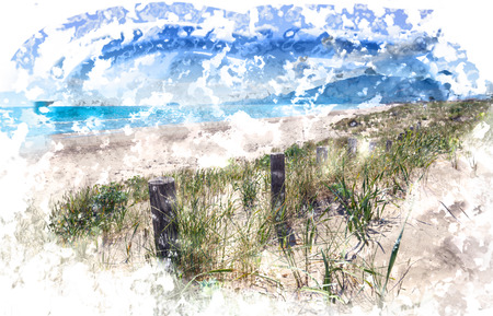 Sandy dunes on beach Laganas Bay, Zakynthos Greece Stock Photo